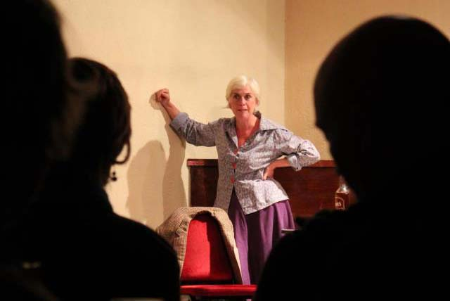 "Helen Griffin performing her one woman show ""Caitlin"" at last years Do No Go Gentle Festival. Photo by Ami Marsden"