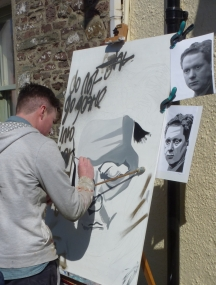 Portrait of Dylan Thomas in progress during the Laugharne Weekend 2013   © Andrew Dally