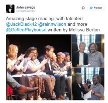 Jack Black on stage as Dylan Thomas